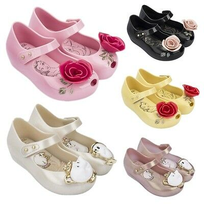 UK Kids Girl Jelly Shoes Beauty And The Beast Rose Chip Cup Disney Princess Shoe