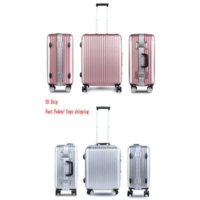 """US Ship 21"""" 25"""" 2-Piece Luggage Travel Set Bag ABS+PC+Aluminum Trolley Suitcase"""