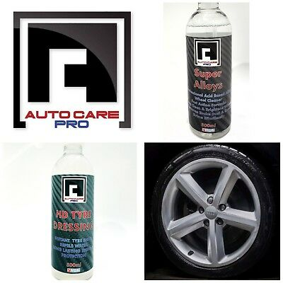 New HD Tyre Dressing Gloss Tyre shine + Professional ACID Alloy Wheel Cleaner
