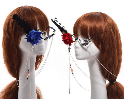Steampunk Glasses with Tassel Chain Flower Feather Pattern Cosplay Props