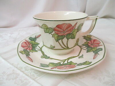 Vintage Germany Villeroy & Boch Lg Cup & Saucer Piccadilly pink Morning Glories