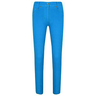 Girls Skinny Jeans Kids Turquoise Stretchy Denim Jeggings Pants Trousers 5-13 Yr