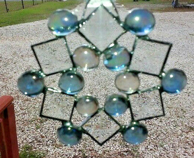 Stained Glass SNOWFLAKE  or STAR Sun Catcher 5in x 5in  NEW LT BLUE BEADS BEVELS