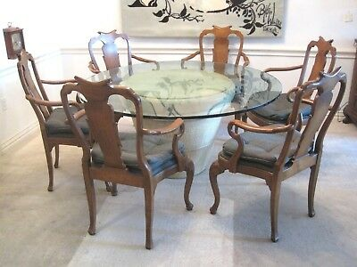 """Vtg 60"""" Round White Pedestal Base Glass Top Dining Table 6 Queen Anne Chairs KD"""