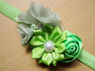 Baby Girl's Toddler Flower Pearl Cute Elastic Hairband Headband Nice Gift GREEN