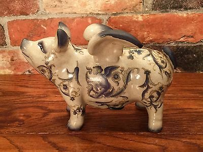 Porcelain Blue-Winged Flying Pig Penny Coin Bank Figurine