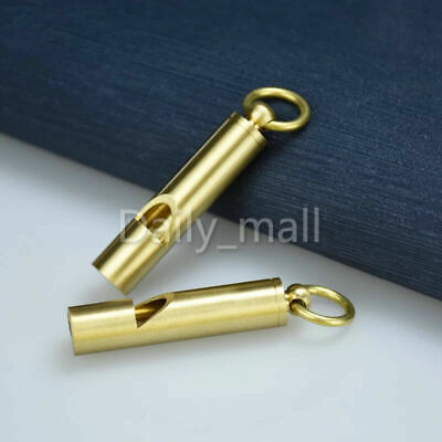 1 pcs/ 5 pcs Solid Brass EDC Vintage Outdoor Key Chain Ring pendant whistle