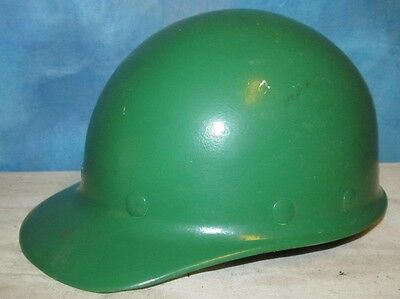 Vintage FIBRE METAL SUPERGLAS White Green Hard Hat Hardhat Miner Safety J234