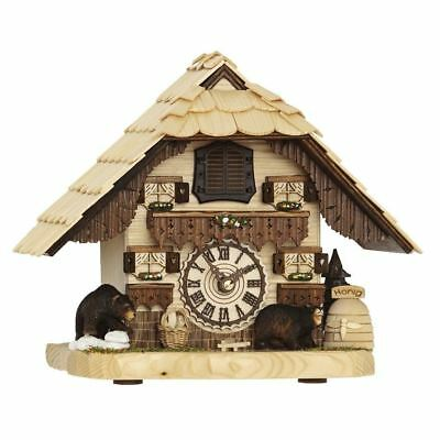 Hermle BENDORF Tabletop Quartz Cuckoo Clock with Two Carved Bears #66000 by Tren