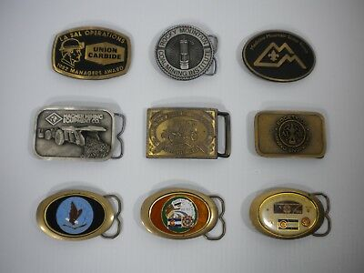 Lot Of 9 Vintage Metal Belt Buckles - Scouts, VFW, Mining, Ford - Free Shipping!