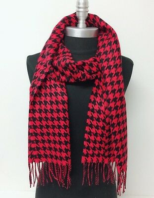 New 100% CASHMERE SCARF HOUNDSTOOTH DESIGN Red Black Scotland SOFT Wool Wrap