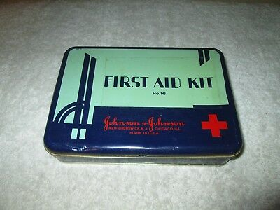 Vintage Johnson & Johnson First Aid Kit Empty Tin No. 16 Red Cross Graphic