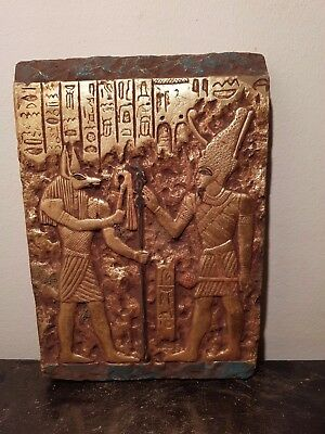 Rare Antique Ancient Egyptian Stela King Ahmose with God Anubis1549-1524BC