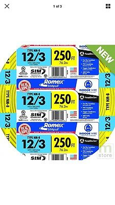 12-3 250 Ft Of Romex, 12 Gauge With Ground, Solid Wire, Red, Black, White
