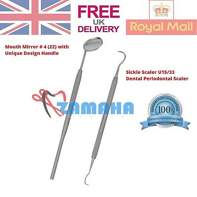Professional Dental 2 Pieces Scalers Pick SET + Dental Mouth Mirror Tool KIT