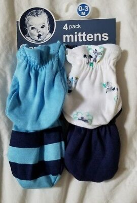 4 PACK! GERBER BOY  MITTENS~ Size: 0-3M~ FREE SHIP ~NWT