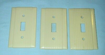 3 Vintage Uniline BAKELITE Ribbed w/ Lines Single Wall Light Switch Plate Covers