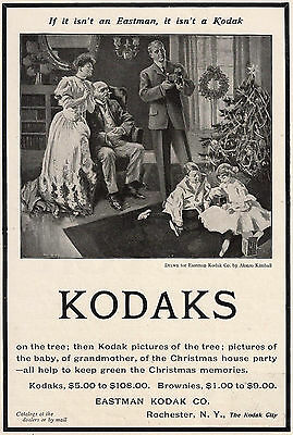 1903 Christmas Ad Eastman Kodak Kids Tree Alonzo Kimball--Victor Talking Machine