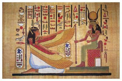 Egyptian Hieroglyphics Isis With Horned Crown Ancient Mural Poster 36x54 inch