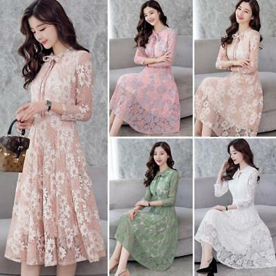 2018 Spring Women Long Sleeve Lace Pleated Dress Party Cocktail Ballgown Floral