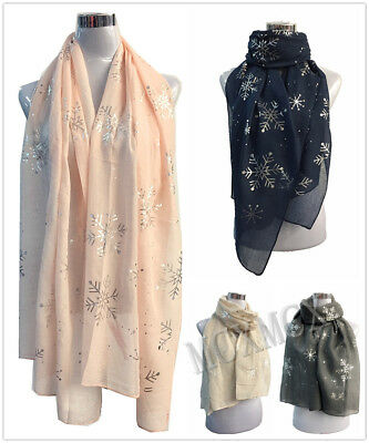 New Ladies Women Soft Scarf with Silver Foil Snowflake Flower Metallic Gift