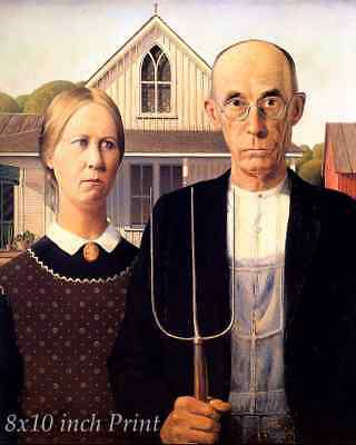 American Gothic by Grant Wood - Country Man Woman Pitchfork 8x10 Print 1795
