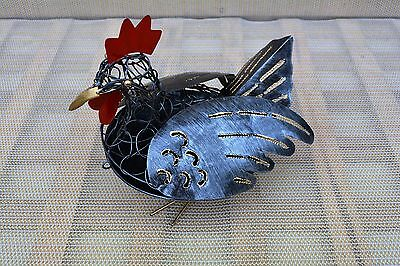 Mosquito Mozzie Coil Holder Chicken Handmade Metal Art Silver Grey Red Colour