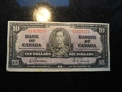 1937 BANK OF CANADA $ 10 TEN DOLLARS GORDON TOWERS C/D 1429277 BC-24b