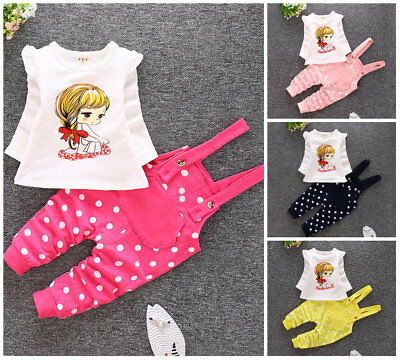 2pcs baby toddler Kids girls cotton outfits top+ overall sets tracksuit dot