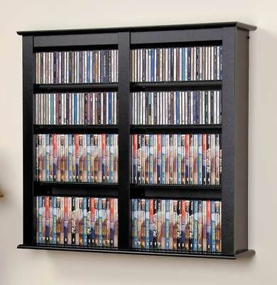 Double Wall Mounted Multimedia Storage in Black Finish [ID 6387]