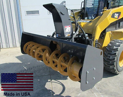 """SNOW BLOWER Commercial - Skid Steer Mounted - 72"""" Cut - High Flow - 22-34 GPM"""