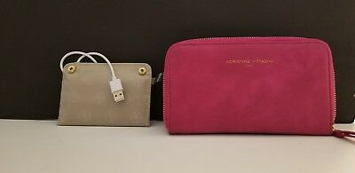 Adrienne Vittadini Hot Pink Smooth Faux Leather Charging Wristlet RFID Wallet