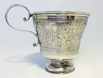 Antique Russian 84 Silver Cup With Scroll Handle Chased Heart Flowers Made 1884