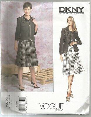 VOGUE DESIGNER SEWING Pattern 2792, Donna Karan Jacket, Skirt Size 8 ...