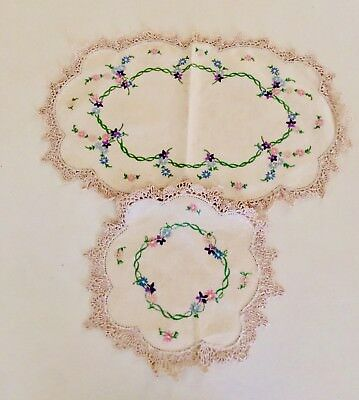 Vintage Hand Embroidered Linen Lace  Floral Doily Set - 1950's