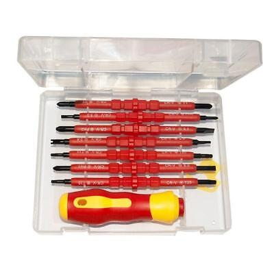 Electricians Screwdriver Set Tool Electrical Fully Insulated with Kit Case^