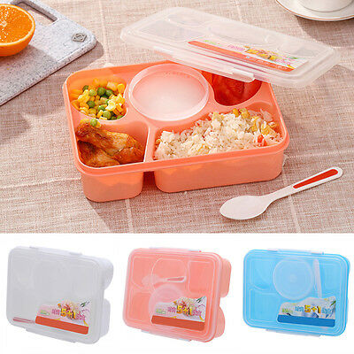 Microwave Bento Lunch Box + Spoon Utensils Picnic Food Container Storage Box^