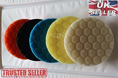 "Set of 5x 6"" 6 inch 150mm Hex Logic Type Polishing Pads DA Rotary Polisher *UK*"