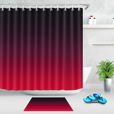 Color Changing Black And Red Fabric Shower Curtain Set Bathroom Curtains Liner