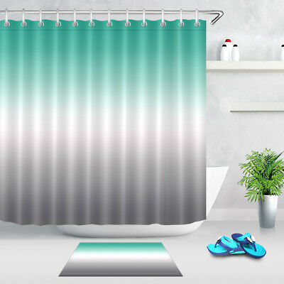 Blue White Gray Fabric Shower Curtain Set Color Changing Bathroom Curtains Liner