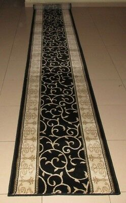 New Extra Long Black Persian Design High Quality Floor Hallway Runner 67X500Cm