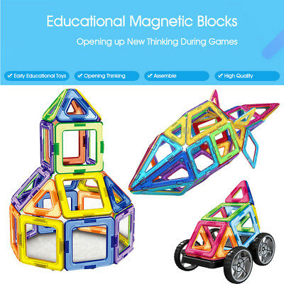 32-104PCS Magnetic Building Blocks DIY Creativity Tiles Educational Toy Kid Gift