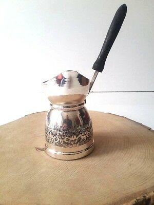Turkish Greek Traditional Hand Hammered Silver Coffee Maker Pot Cezve for 3 cups