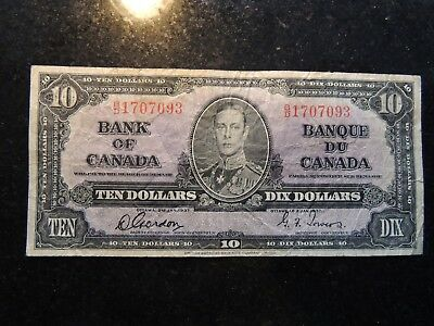 1937 BANK OF CANADA $ 10 TEN DOLLARS GORDON TOWERS B/D 1707093 BC-24b