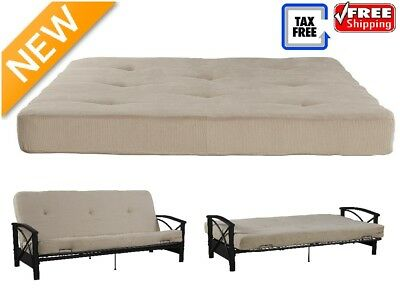 Sofa Bed Futon 6 Folding Mattress Couch With Tufted Cushion Full Size Tan