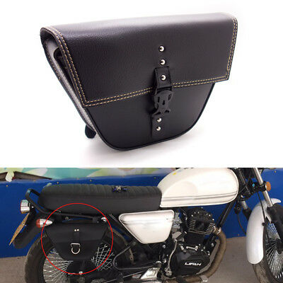 Motorcycle PU Leather saddle bag Luggage Tool Side Bag For Cafe Racer ATV Custom