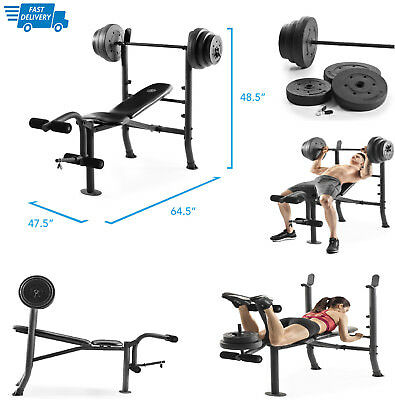 Gold Gym Bench XR 8.1 with Bar & 100 lb Weights Set Golds Weightlifting Benches