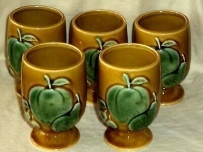 Five Fruit Juice Cups Green Peach Pear Mustard  Giftcraft 1950s-60s