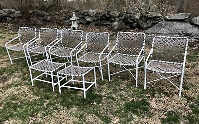 Vintage 8-piece Tropitone Sun Pool Patio 6 Chairs 2 Ottoman White