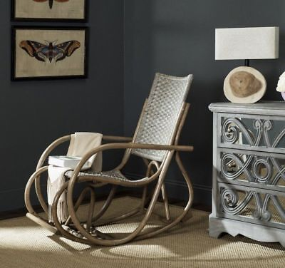 Wicker Rocking Relaxing Chair Vintage Furniture Out/Indoor Rattan Antique Grey